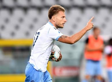 Ciro Immobile celebrates Lazio's equaliser.