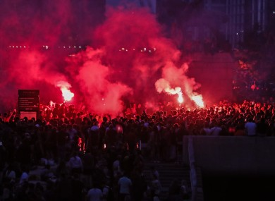 Liverpool fans outside the Liver building in recent days.