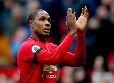 Odion Ighalo salutes the Old Trafford crowd.