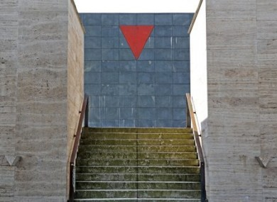 The red triangle at a memorial to the victims of fascism in Zwickau, Germany.