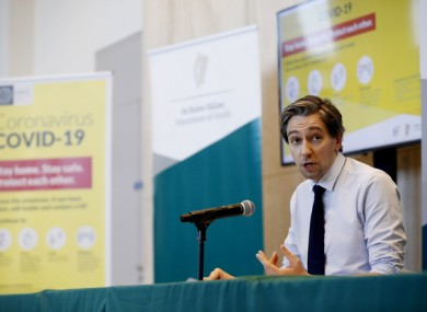 Simon Harris speaking to the media last month at the Department of Health.