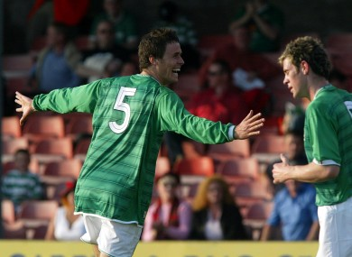 Paddy McCarthy celebrates scoring for Ireland's Under 21s.