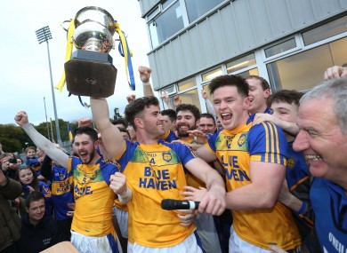 Paddy McBrearty celebrates winning the 2017 Donegal championship.