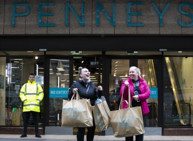 Shoppers leaving Penneys this morning.