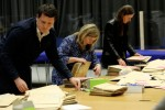Staff sorting through ballot boxes for the Seanad count in March