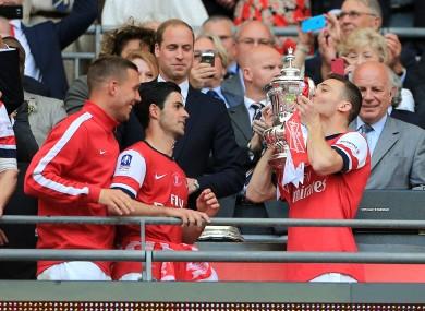 Thomas Vermaelen's last act as Arsenal captain.