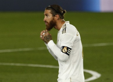 Sergio Ramos of Real Madrid celebrates after scoring.
