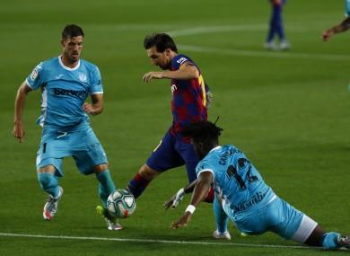 Lionel Messi in action for Barcelona against Leganes