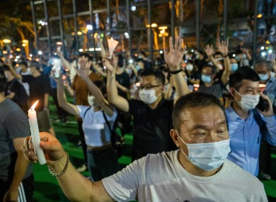 Participants at a vigil in Hong Kong on Thursday held for the victims of the 1989 Tiananmen Square incident.