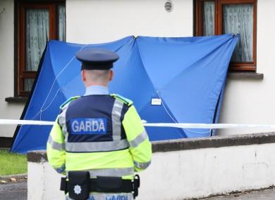 A garda at the scene in Clonsilla on Saturday.