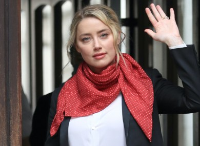 Amber Heard outside court in London.