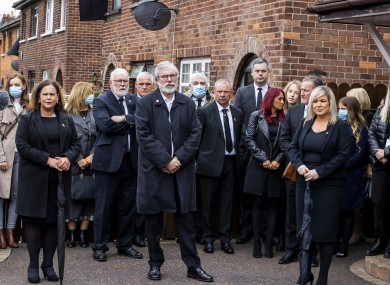 Mary Lou McDonald, Gerry Adams, and Michelle O'Neill at the funeral of Bobby Storey.