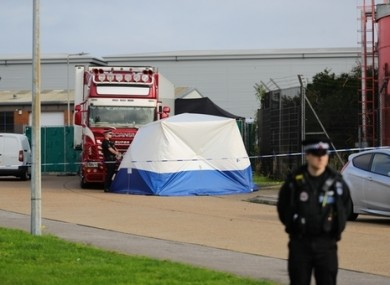 The scene in Waterglade Industrial Park in Grays, Essex, after the 39 bodies were found.