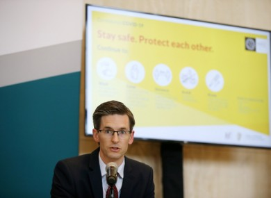 Acting Chief Medical Officer Dr Ronan Glynn at a Department of Health briefing.
