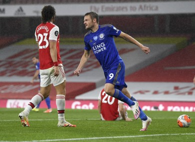 Jamie Vardy after scoring against Arsenal.