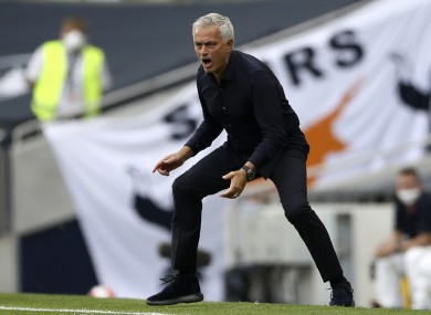 Tottenham's manager Jose Mourinho reacts during today's match with Arsenal.