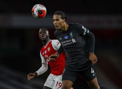Virgil van Dijk pictured during the Arsenal-Liverpool game.