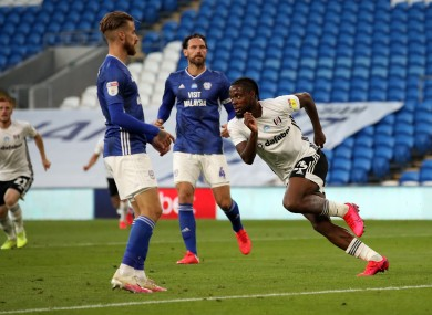 Fulham's Josh Onomah scelebrates scoring his side's first goal of the game.