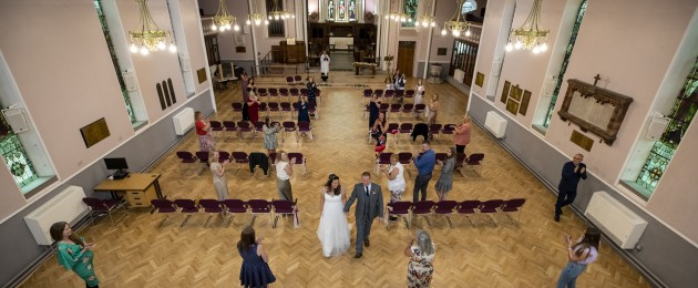 David D'Arcy and his wife Hayley Collins get married during their socially distanced wedding at St Anne's Church in Aigburth, Liverpool