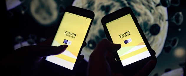 Two phones with the newly launched HSE Covid-19 contact tracing app on the screen