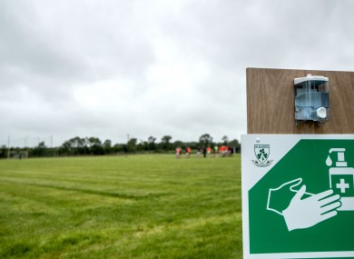 Covid-19 signage at a GAA ground.