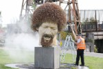Luke Kelly statue on Guild Street being cleaned in late June.