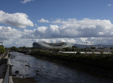 The River Dodder with the Aviva Stadium in the background.