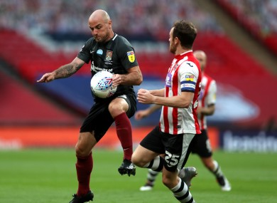Alan McCormack in action in the Sky Bet League Two play-off final at Wembley Stadium on Monday.