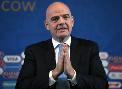 File photo of Infantino ahead of the 2018 World Cup in Russia.