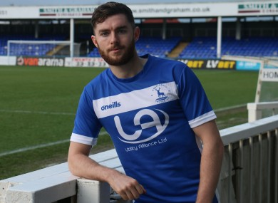 Aidan Keena pictured after completing his move to Hartlepool United back in January.