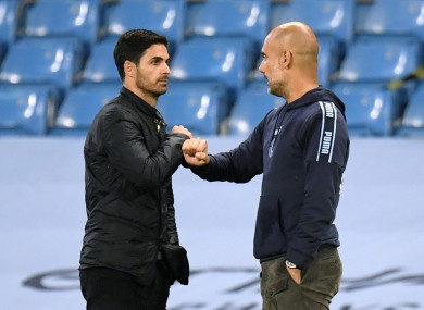 Arteta (left) has been tipped to succeed by his mentor, Guardiola (r).