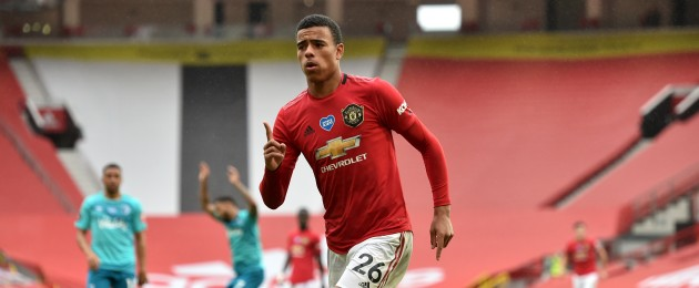 Manchester United's Mason Greenwood celebrates after scoring his second goal in today's win against Bournemouth.