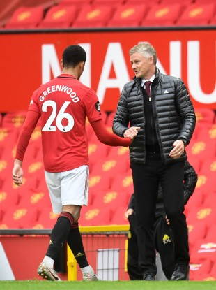 Mason Greenwood with United manager Ole Gunnar Solskjaer.