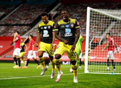 Southampton's Michael Obafemi (centre) celebrates scoring.