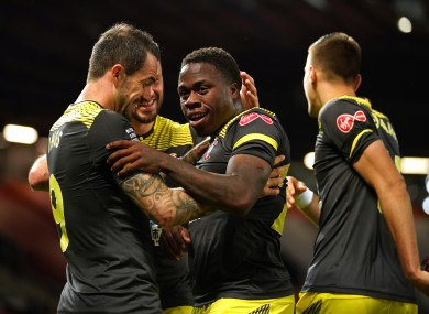 Michael Obafemi celebrates with team-mates.