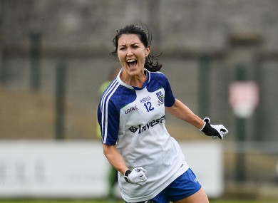 Therese Scott of Monaghan celebrates after scoring her side's third goal in the 2016 All-Ireland quarter-final.