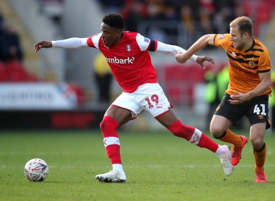 Chiedozie Ogbene in possession for Rotherham United during an FA Cup game against Hull City in January.