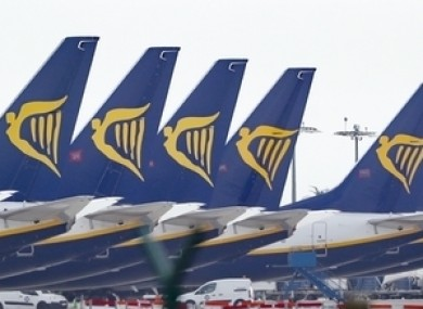 Ryanair jets parked up on the runway of Dublin Airport