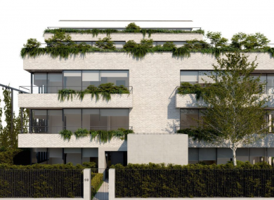 Visual of the original apartment block plans from Bartra.