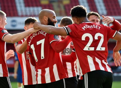 Sheffield United's David McGoldrick celebrates scoring his side's third goal of the game.