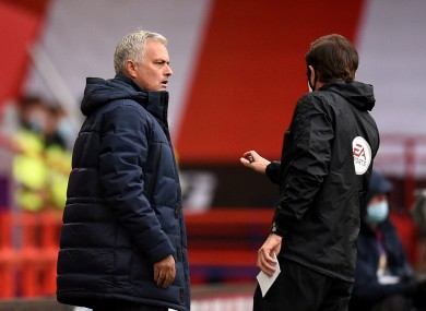 Tottenham Hotspur manager Jose Mourinho reacts after his side's goal is ruled out by VAR.