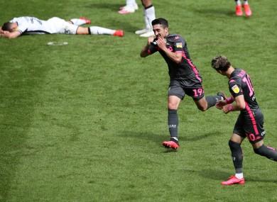 Hernandez celebrates while Swansea are left in despair.