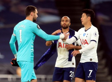 Hugo Lloris and Son Heung-min after the game.