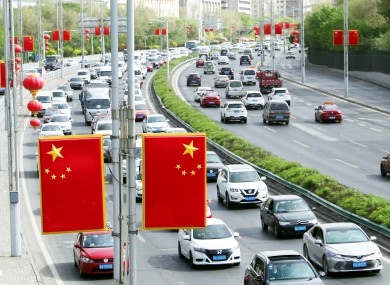 Traffic on a road in Urumqi city in China's Xinjiang Uyghur autonomous region (file photo)