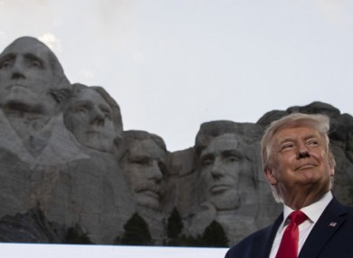 A smiling Donald Trump at Mount Rushmore.