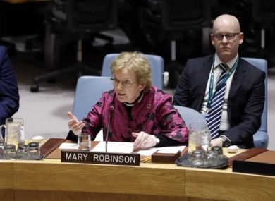 Mary Robinson addresses the UN Security Council in January.