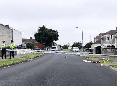 The scene where Gardaí are investigating the death of a man in the Tymon Road North area of Tallaght.