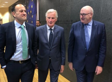 Leo Varadkar with Michel Barnier and Phil Hogan.