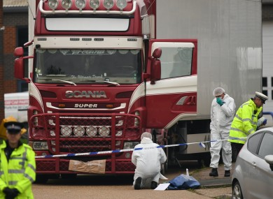 Police and forensic officers at the site in Grays, Essex when the bodies of the people were discovered.