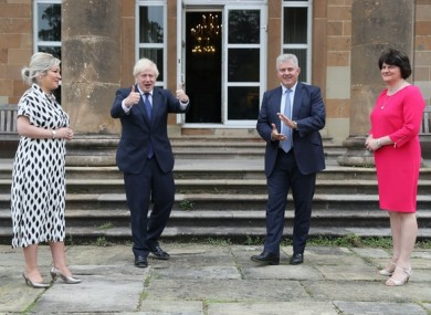 Michelle O'Neill, Boris Johnson, Brandon Lewis and Arlene Foster